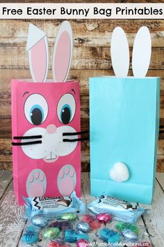Free Easter Bunny Bag Printables - can also be printed at full size for Easter Bunny photo props.