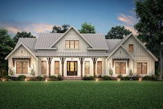 Plan Expanded Modern Farmhouse with Optional Bonus Room This modern farmhouse plan expands on our wildly popular plan and gives you a larger open floor plan and replaces the dining room with a private office.Enter the foyer… Continue Reading → New House Plans, Dream House Plans, Dream Houses, Brick House Plans, Open Floor House Plans, Family House Plans, Farm Style Houses, Country Farm Houses, House Plans With Garage