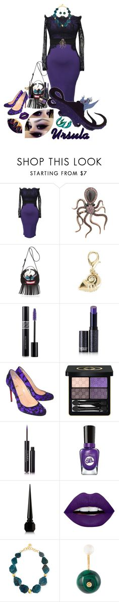 """""""U is for Ursula"""" by duci ❤ liked on Polyvore featuring Danielle Nicole, Disney, Christian Dior, Lipstick Queen, Christian Louboutin, Gucci, By Terry, Sally Hansen, LunatiCK Cosmetic Labs and Flotsam & Jetsam"""