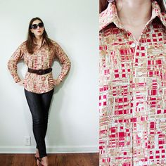 VINTAGE 1970s Abstract Red Tan Blouse Button Front Unisex Large by MyGrayCatVintage, $14.00