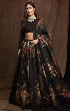Black Colour Orgenza Silk A Line Lehenga Choli Comes With Matching Taffeta Silk Blouse Fabric. This Lehenga Choli Is Crafted With Printed. This Lehenga Choli Is Semi Stitched and Blouse Comes As a Uns. Indian Lehenga, Black Lehenga, Indian Wedding Lehenga, Punjabi Wedding, Pakistani Bridal, Lehenga Choli Designs, Lengha Design, Floral Lehenga, Bridal Lehenga Choli