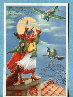 Artist: Lasse Halloween Cards, Vintage Halloween, Tarot, Witch Costumes, Wicca Witchcraft, Paint Cards, Easter Art, Christmas Cards To Make, Vintage Easter