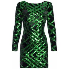 Nissa - Mini Party Dress with Sequins ($400) ❤ liked on Polyvore featuring dresses, long sleeve sequin dress, green party dress, green sequin dress, long-sleeve velvet dresses and green cocktail dress