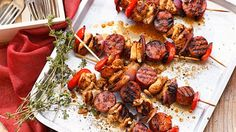 Chicken and chorizo skewers with red pepper (do half skewers)