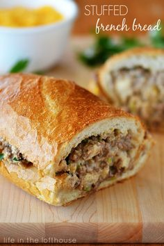 stuffed-french-bread, uses hamburger. About 15 minunutes prep and the same in the oven.