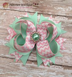 Mint Green and Light Pink Chevron OTT Loopie Bow with Matching Pearl - Great for all Occasions - Perfect Fit for All Ages - Infant Headband on Etsy, $9.75