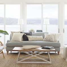 Coastal light. An airy mix of naturals, creams and greys breathes new life into the neutral living room. #serenaandlily #designtip (Link in bio to shop)