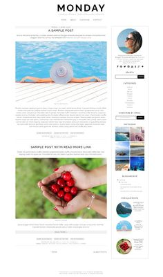 Monday - Pre-made Blogger Template by The October Studio on @creativemarket