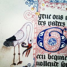 Detail from one of the Book of Hours given to Guildhall Library in Calligraphy Art, Medieval Books, Medieval Art, Illuminated Letters, Bizarre Art, Print Book, Doodle Inspiration, Book Art, Vintage Illustration