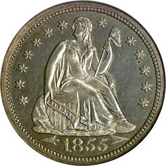 Seated Liberty Dimes -   1855 with Arrows at date Type 3 dime. All coins of this date and denomination were struck at the Philadelphia mint.