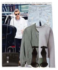 """""""LouManatis with Harry! (Deep dish pizza restaurant)"""" by directionermixer01 ❤ liked on Polyvore featuring T By Alexander Wang, Monki, Isabel Marant and Yves Saint Laurent"""