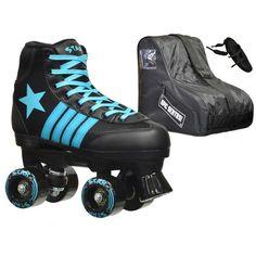 Epic Star Hydra Black and Blue High-Top Quad Roller Skates Package - Kids), Epic Skates Roller Skate Wheels, Quad Roller Skates, Roller Derby, Roller Skating, Roller Disco, Ice Skating, Black Tees, Best Gifts For Tweens, Kids Skates