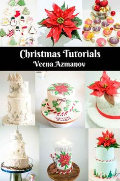 A Collection of Cake Decorating Tutorials for Christmas including the gum paste poinsettia, gumpaste poinsettia with leaf cutters, fantasy winter poinsettia, Christmas ornaments, Christmas cookie decorating, frosted Christmas cake. and Hand Painted Christmas Cake,