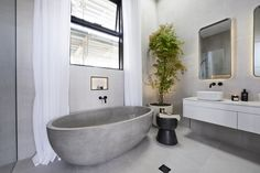 **Jess and Norm** The faux concrete bath tub gave the main bathroom a luxe appearance without a matching price tag. Bathroom Photos, Modern Bathroom, Small Bathroom, Bathroom Ideas, Bathroom Inspo, Bathroom Goals, Downstairs Bathroom, Minimalist Bathroom, Bathroom Designs