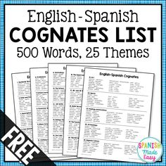 This is a list of 500 English-Spanish cognates divided into 25 vocabulary themes. Learning cognates is a fun and easy way to quickly build your students Spanish vocabulary. This is also a great resource to help teachers of bilinguals. Spanish Vocabulary List, Spanish Grammar, Spanish English, Spanish Alphabet, Vocabulary Activities, Class Activities, Preschool Worksheets, Preschool Crafts, Dual Language Classroom