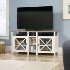 Walmart: Sauder Cottage Road TV Stand for TVs up to Soft White White Tv Stands, Cool Tv Stands, Media Storage, Storage Spaces, Tv Storage, Cabinet Storage, Tv Stand Hutch, Corner Tv Stands, Houses