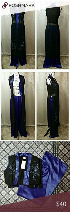 "Elegant Asian Inspired 2 piece Outfit Gorgeous! Never worn! NWT! Pictures do not do this justice! Sheer long Black top with Royal blue satin trim and delicate floral design. Silky Satin wide leg pants. Pants have back zipper closure with half elastic waistband (Unstretched waist measures 13"" across flat and stretches to 15"") So Comfy and Flowy! Tag says L but fits like a M. Silver Dragon Other"