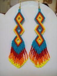 ojibwe beadwork patterns | Native Amerian Beaded Twisted Turquoise, Red, Orange and Yellow ...