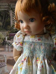 Kitty Kat  Smocked Dress for a Kidz'n'Cats Doll.........by lkb