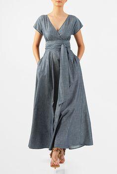 I <3 this Sash tie cotton chambray maxi dress from eShakti