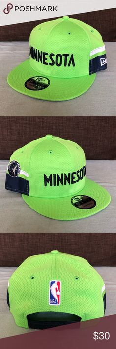 Minnesota Timberwolves NBA New Era Jersey Hat For sale is a Minnesota Timberwolves NBA New Era Jersey SnapBack Hat NWT. Neon green crown with navy blue/white accents on both sides of the hat and stitched MINNESOTA script logo on the front. There is also a stitched Timberwolves logo on the right side and stitched NBA logo on the back. Adjustable SnapBack strap on back.  Bundle items and make an offer! New Era Accessories Hats