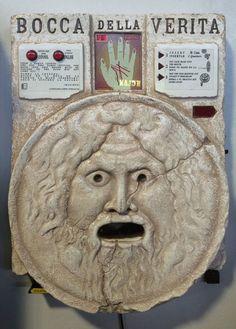 "Bocca Della Verità, or in English ""The Mouth of Truth"" is a circular marble sculpture located in the portico of the Paleochristian church of Santa Maria Know Your Future, San Francisco, Penny Arcade, Fortune Teller, Art History, Celtic, Roman, Lion Sculpture, Statue"