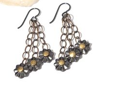 Faceted Flower Earrings featuring the new Leather Findings 2 line by TierraCast designer Denise Varville Flower Earrings, Drop Earrings, Leather Rivets, Metal Beads, Designer Earrings, Flowers, How To Make, Jewelry, Jewlery