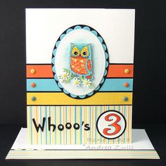 at Splitcoaststampers; link for free owl image Xmas Cards, Diy Cards, Your Cards, Cricut Cards, Stampin Up Cards, Fun Crafts, Paper Crafts, Owl Card, Kids Birthday Cards