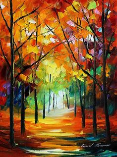Painting by Leonid Afremov. Oil Painting Texture, Oil Painting On Canvas, Autumn Painting, Acrylic Paintings, Abstract Canvas, Canvas Art, Art Amour, Modern Art Deco, Ouvrages D'art