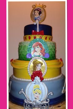 Disney princess cakes. Snow White. Ariel. Belle. Cinderella.  Done by cakesbylulas
