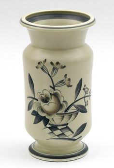 Glazed stoneware vase with floral Art-Deco decoration executed by Aluminia / Royal Copenhagen Denmark 1929-1950