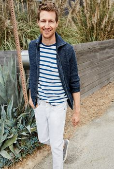J.Crew men's full-zip funnelneck sweater, Wallace & Barnes indigo T-shirt in stripe, 484 stretch jean in white and Vans® for J.Crew washed canvas classic slip-on sneakers.