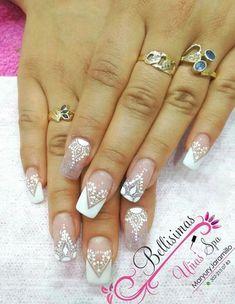Henna Nails, Lace Nails, Flower Nails, Bride Nails, Wedding Nails, Fall Nail Designs, Acrylic Nail Designs, Fabulous Nails, Gorgeous Nails
