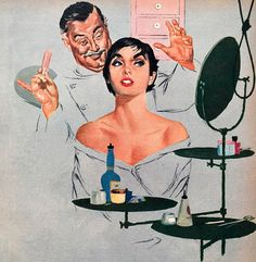 Vintage 1950's illustration Fridge Magnet hairdresser by Vividiom, $3.00