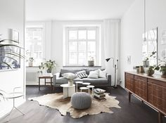 Soft colors on a dark floor - via cocolapinedesign.com