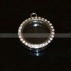 Large 30mm Round Magnetic Crystal Glass Memory Floating Locket Necklace Pendant