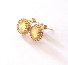 Citrine Gemstone Post Earrings Gold Vermeil by SendingLoveGallery