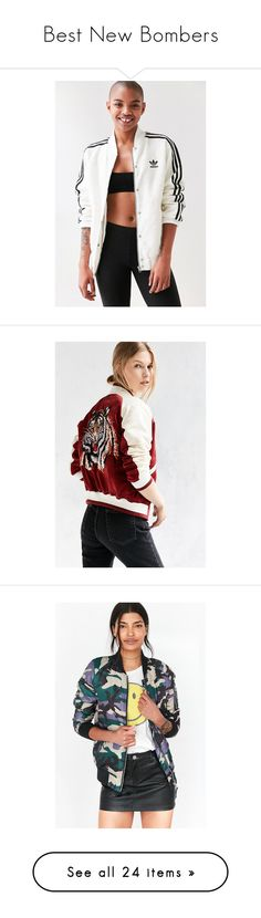 """""""Best New Bombers"""" by urbanoutfitters ❤ liked on Polyvore featuring outerwear, jackets, flower print bomber jacket, striped jacket, adidas jacket, white bomber jacket, stripe jacket, urban outfitters, bomber style jacket and white satin jacket"""