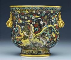 A superb and very rare Ming dynasty cloisonné enamel deep bowl, Ming dynasty, 15th-early 16th century, 5¾ in. (14.7 cm.) high, 6¼ in. (16 cm.) diam