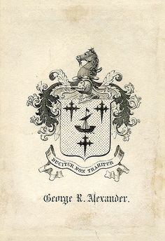 Bookplate of George R. Alexander | Description: States, 'George R. Alexander' with motto 'Ducitur non Trahitur;' features a shield with three crosses, a ship, and a helmet. A crest with a demi-horse is also featured. Unsigned. Format: 1 print, col., 10 x 7 cm. Source: Pratt Institute Libraries, Special Collections 8 (sc00601) Pratt Libraries Website For inquiries regarding permissions and use fees, please contact: rightsandrepro.library@pratt.edu.