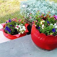 Create a flower planter from an old tire! My future father-in-law came up with this brilliant idea over 20 years ago to cut and flip an old tire inside out and use...
