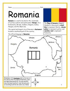 ROMANIA - Printable handout with map and flag by Interactive Printables Printable Maps, Printable Worksheets, Printables, Basic Geography, Geography Worksheets, Small Flags, 1 Decembrie, Christmas Cards To Make, Interactive Notebooks