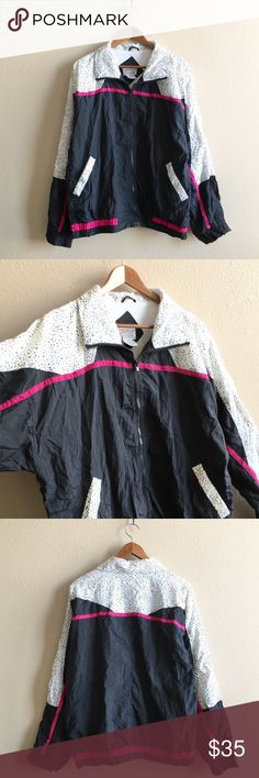 Dalmatian Lady Windbreaker Hip-Cruella-deVille-grandma style windbreaker!  Very thin shoulder pads, zipper works great, no rips or stains. I wore this to an 80s theme frat party in college and forgot about it, time for a new home!  BRAND: Westside Connection MATERIAL: nylon / cotton/poly lining YEAR/ERA: 80s LABEL SIZE: L BEST FIT: M/L  MEASUREMENTS: Chest 25 inches  Length 26.5 inches   🚫 I do not model or trade, sorry! 💟 Check out my closet for more vintage! Vintage Jackets & Coats