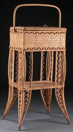 A FINE VICTORIAN WOVEN WICKER SEWING BASKET circa