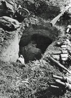 Soviet soldier killed in his fox hole, 1941