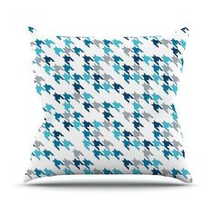 """KESS InHouse Tooth by Project M Throw Pillow Size: 16"""" H x 16"""" W x 3"""" D, Color: Blue"""
