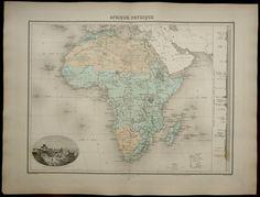 1892 antiguo gran mapa físico de África: ríos por AntiquePrintsOnly