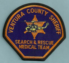 VENTURA COUNTY SHERIFF CALIFORNIA POLICE SEARCH & RESCUE HELICOPTER PATCH