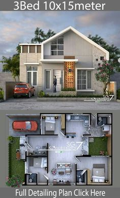 3 bedrooms home design plan House description:One Car Parking and gardenGround Level: Master bedroom with included Office walk in closet and bathroo 3d Home Design, Small House Design, Modern House Design, Bungalow Haus Design, Bungalow House Plans, Small House Floor Plans, Dream House Plans, Style At Home, Minimalist House Design