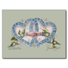De vintage Harten van de Valentijnskaart en Handen Briefkaart